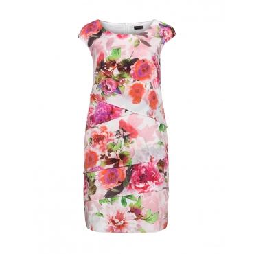 Volant-Kleid mit Rosendruck