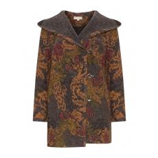 Wollmix-Jacke mit Print und Zierhäkchen