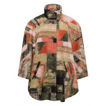 Wollmix-Poncho mit Taschen und Muster