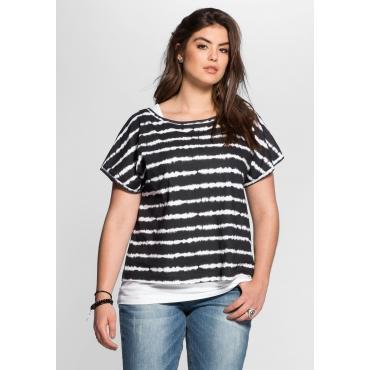 2-in-1-Shirt mit Batikdruck, schwarz, Gr.40-58