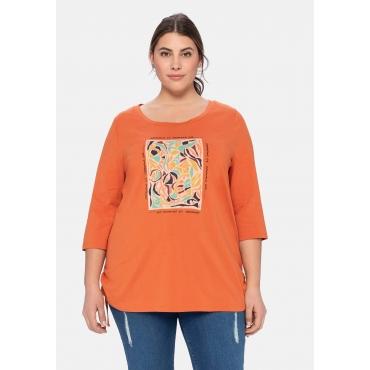 3/4-Arm-Shirt mit Frontprint und Tunnelzug-Saum, kupferfarben, Gr.40/42-56/58