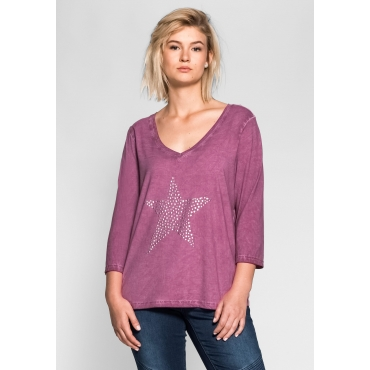 3/4-Arm-Shirt mit Nietenapplikation, purpur, Gr.40/42-56/58