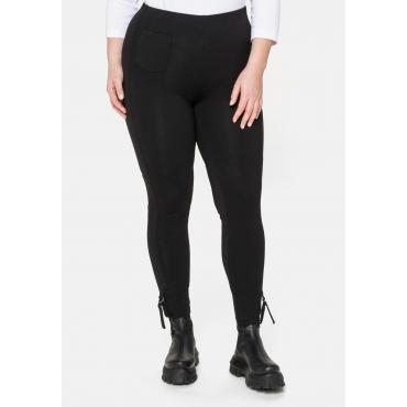 Leggings mit Tasche und Zierriegel am Saum, schwarz, Gr.40-58