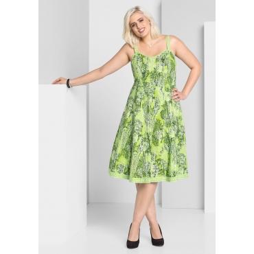 A-Linien-Kleid mit Alloverdruck, grün bedruckt, Gr.44-58