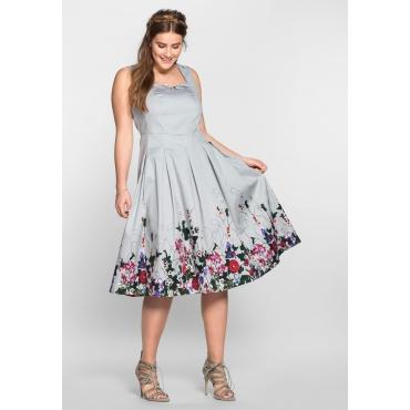 A-Linien-Kleid mit Blütendruck, lichtgrau bedruckt, Gr.40-58