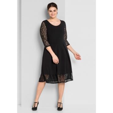 A-Linien-Kleid mit Spitze, schwarz, Gr.44-58