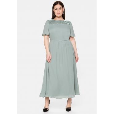 Abendkleid aus Chiffon, mit Pailletten-Einsatz, eukalyptus, Gr.40-58
