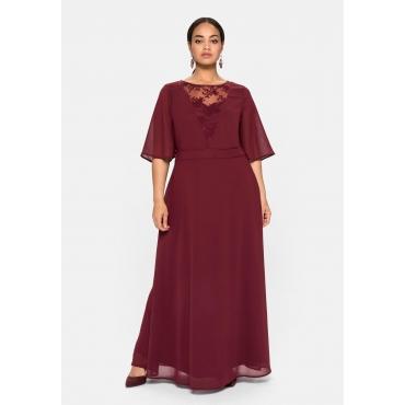Abendkleid aus Chiffon, mit Spitzen-Einsatz, weinrot, Gr.40-58