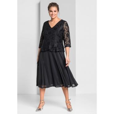 Abendkleid aus floraler Spitze, schwarz, Gr.44-58