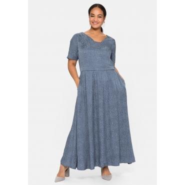 Abendkleid mit leicht glänzendem Jacquardmuster, stahlblau, Gr.40-58