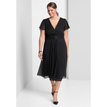 Abendkleid mit Schmuckbrosche, schwarz, Gr.40-58