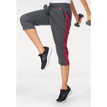 adidas Performance 3/4-Hose »ESSENTIALS 3 STRIPES 3/4 PANT«, grau-koralle, Gr.L-XXL