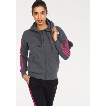 adidas Performance Kapuzensweatjacke »ESSENTIALS 3 STRIPES FULLZIP HOODIE«, grau-pink, Gr.L-XXL