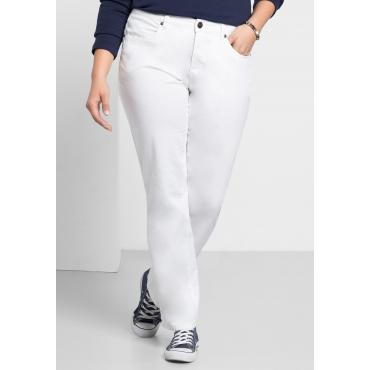 Gerade Stretch-Hose mit Eingrifftaschen, weiß, Gr.40-58