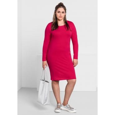 BASIC Kleid mit langen Ärmeln und Rundhalsausschnitt, dunkelpink, Gr.40-58