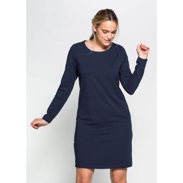 BASIC Kleid mit langen Ärmeln und Rundhalsausschnitt, marine, Gr.40-58
