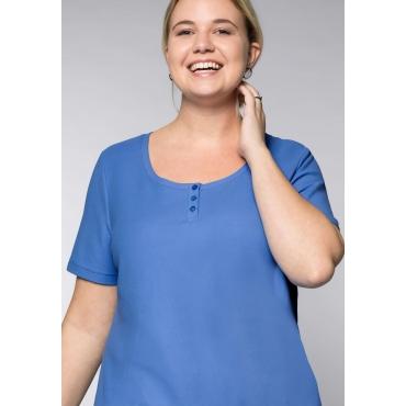 BASIC Longshirt in Piqué-Qualität, azurblau, Gr.44/46-56/58