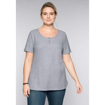 BASIC Longshirt in Piqué-Qualität, hellgrau meliert, Gr.44/46-56/58