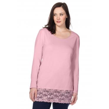 BASIC Longshirt mit Spitze, rosé, Gr.40/42-56/58