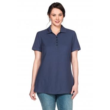 Poloshirt mit kurzem Arm und Polokragen, jeansblau, Gr.40/42-56/58