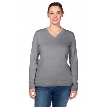 BASIC Pullover aus Feinstrick mit V-Ausschnitt, grau meliert, Gr.40/42-56/58