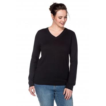 BASIC Pullover aus Feinstrick mit V-Ausschnitt, schwarz, Gr.40/42-56/58
