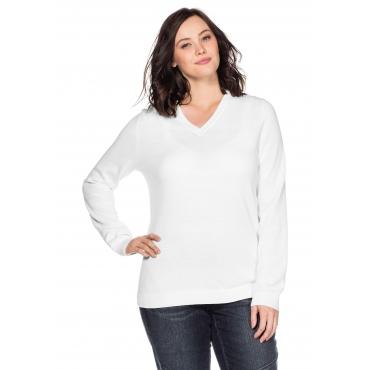 BASIC Pullover aus Feinstrick mit V-Ausschnitt, weiß, Gr.44/46-56/58