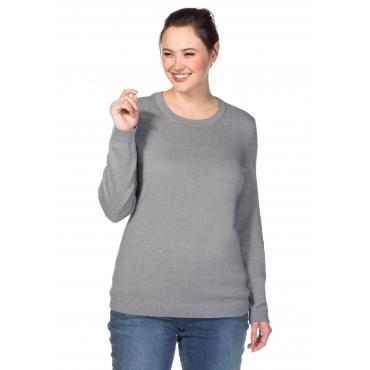 BASIC Pullover mit Rundhalsausschnitt und Rippbündchen, grau meliert, Gr.40/42-56/58