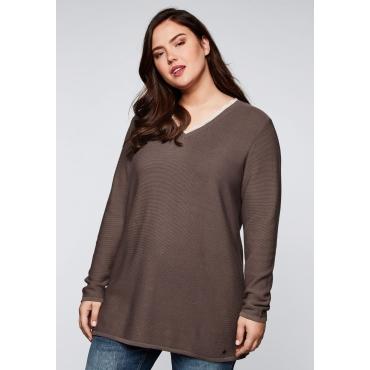BASIC Pullover mit Spitze und Rippbündchen, dunkeltaupe, Gr.44/46-56/58