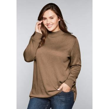BASIC Pullover mit Stehkragen, karamell meliert, Gr.44/46-56/58