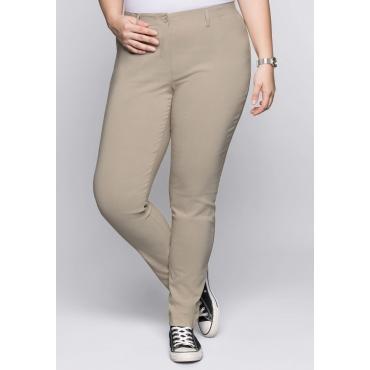 BASIC Schmale Bengalin-Stretch-Hose, softtaupe, Gr.44-58