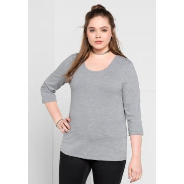 BASIC Shirt mit 3/4-Arm, grau meliert, Gr.40/42-56/58
