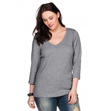 BASIC Shirt mit 3/4-Arm und V-Ausschnitt, grau meliert, Gr.40/42-56/58