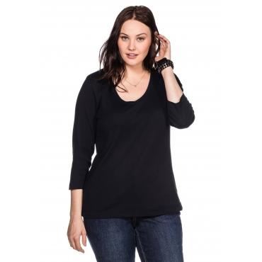 BASIC Shirt mit 3/4-Arm und V-Ausschnitt, schwarz, Gr.40/42-56/58