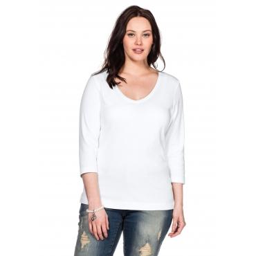 BASIC Shirt mit 3/4-Arm und V-Ausschnitt, weiß, Gr.40/42-56/58