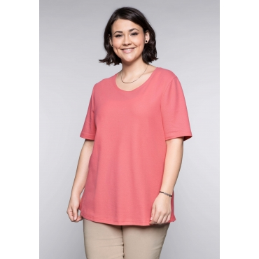 BASIC-Shirt mit Halbarm, korallrot, Gr.44/46-56/58