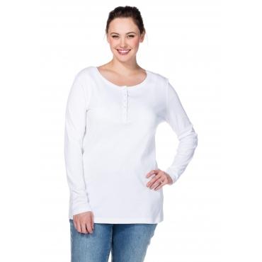 BASIC Shirt mit Serafinokragen, weiß, Gr.40/42-56/58