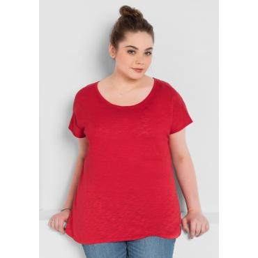 BASIC Shirt mit überschnittener Schulter, mohnrot, Gr.40/42-56/58