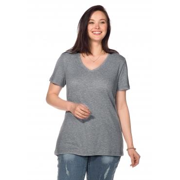BASIC Shirt mit V-Ausschnitt, grau meliert, Gr.40/42-56/58