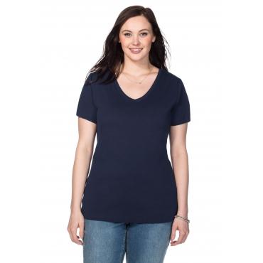 Shirt mit V-Ausschnitt, marine, Gr.40/42-56/58