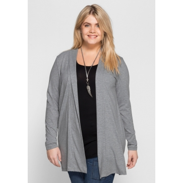 BASIC Shirtjacke in offener Form, grau meliert, Gr.40/42-56/58