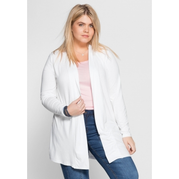 BASIC Shirtjacke in offener Form, weiß, Gr.40/42-56/58