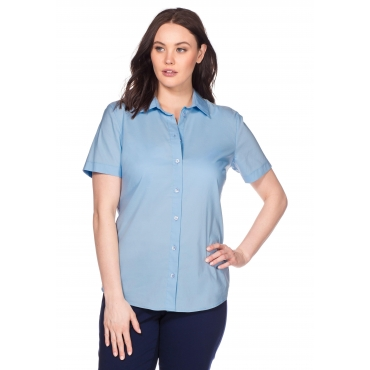 BASIC Stretch-Bluse mit kurzem Arm, hellblau, Gr.40-58