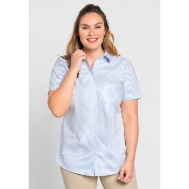BASIC Stretch-Bluse mit kurzem Arm, hellblau-weiß, Gr.44-58