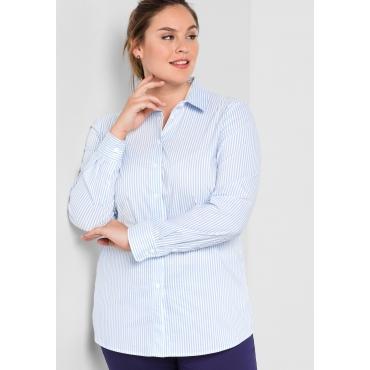 BASIC Stretch-Bluse mit Seitenschlitzen, hellblau-weiß, Gr.44-58