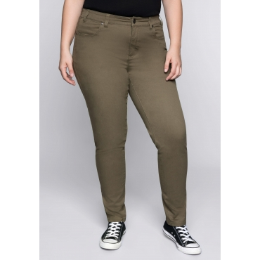 BASIC Stretch-Hose in Karottenform, dunkelkhaki, Gr.44-58