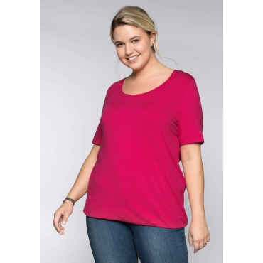 BASIC T-Shirt aus Viskosequalität mit längerem Halbarm, dunkelpink, Gr.44/46-56/58