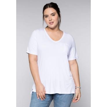BASIC T-Shirt aus Viskosequalität mit V-Ausschnitt, weiß, Gr.44/46-56/58