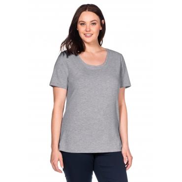 BASIC T-Shirt in leicht taillierter Form, grau meliert, Gr.40/42-56/58