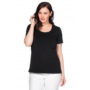 BASIC T-Shirt in leicht taillierter Form, schwarz, Gr.40/42-56/58
